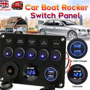 5 Gang 12V Inline Fuse Box LED Switch Panel Dual USB For Car Boat Truck Caravan