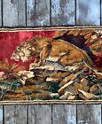 """Vintage Velvet Rug Tapestry LION Wall Hanging Fringe 18x39"""" Rich Colors"""
