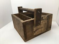 Primitive Wood Tool Box Railroad Caddy Railway Express Agency Label Early 1900s