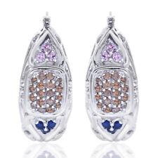 0.75 Carat Chocolate Cognac Diamonds, Sapphires Puffy Oval Hoop 14K White Gold