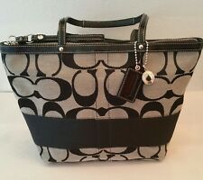 Coach F13548 Grey Black Patent Leather Tote Shopper Shoulder Bag Purse