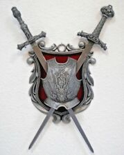 Medieval Gothic Sword Wall Display Plaque Crest Chest Plate Armor Dragon Knight