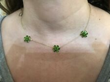 """14k Yellow Gold Triple Green Diopside Cluster Necklace 17"""" - 4.9 Grams"""