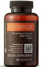Amazon Elements B Complex, High Potency, 83% Whole Food Cultured, Vegan, 65 Caps