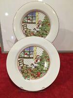 "Meiwa The Night Before Christmas Lot of 2 Dinner Plates 10 1/2""  Vintage Santa"