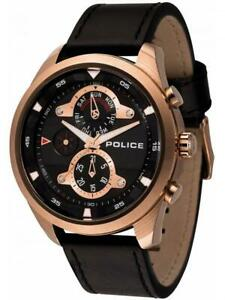 POLICE Mens Wristwatch MARINE PL.14836JSR/02 Leather Black Gold Rose Day Date