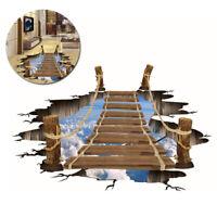 3D Bridge Floor/Wall Sticker Waterproof Mural Decals Art Living Room Home Decor