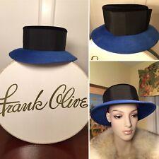 New w/ Tags in Box Vtg FRANK OLIVE Blue & Black Wool Felt/Velour Brimmed Bow Hat