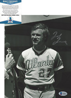TED TURNER SIGNED 8x10 PHOTO D CNN FOUNDER ATLANTA BRAVES OWNER BECKETT COA BAS