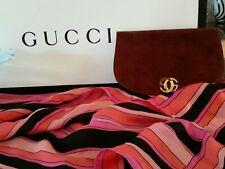 Authentic Vintage Gucci Clutch  Bordeaux Suede Leather GG Logo