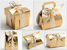 Pelle Gold Boxes Wedding Christmas Party Gift Favour - Pack of 10