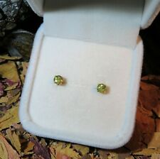 CERTIFIED! Rare natural Demantoid Green Garnet 4mm yellow gold stud earrings 🍀
