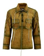 Mens Western Cowboy Brown Suede Leather Jacket Shirt With Fringe