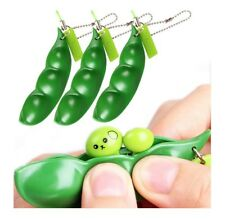 Soybean Toy 5pcs Keychain Set Green Soybean Stress Relieving Mobile Chain Fidget