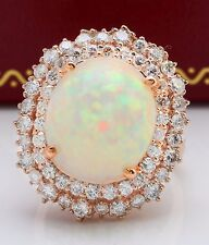 7.70 CTW Natural Ethiopian Opal and Diamonds in 14K Solid Rose Gold Ring