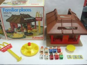 VINTAGE PLAYSKOOL McDONALD'S RESTAURANT FAMILIAR PLACES PLAY SET WITH BOX