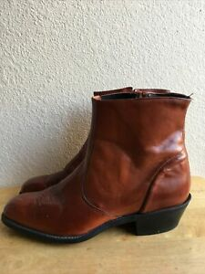 Laredo Cowboy Western Brow Leather Side Zip Ankle Boots Mens SZ 10.5 D Pre-Owne