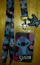 Disney Lilo and Stitch Lanyard ID Badge Holder Pin Lanyard Keychain with Charm
