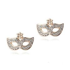 ITALINA 18K  ROSE GOLD PLATED CLEAR GENUINE AUSTRIAN CRYSTAL MASK STUD EARRINGS