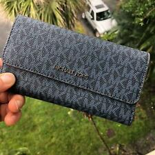 Michael Kors Jet Set Travel Large Trifold Wallet Leather French Blue Multi