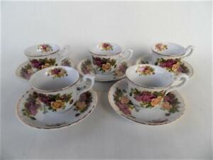Vintage Set X 5 Crown Regal Made in Romania Roses Pattern espresso coffee set