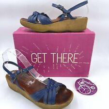 Vintage 1970s Famolare Sandals size 8N Blue Wavy Sole w/ Box & Sticker O2