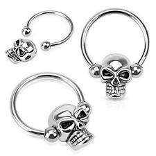 Steel Captive Bead Ring pair 16g Nipple Ring Skull Bead 316L Surgical