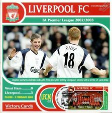 Liverpool 2002-03 West Ham (Gerrard/Riise) Football Stamp Victory Card #220