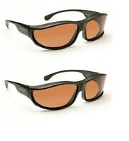 2 Foster Grant Solar Shield Polarized Driver Panoramic Sunglasses Fit over Large