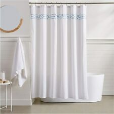 Light Blue Trellis Embroidered French Country Shabby Chic Fabric Shower Curtain