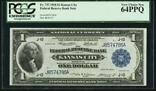 Fr 737 1918 Federal Reserve Bank Note $1 Dollar Kansas City PCGS Currency 64 PPQ