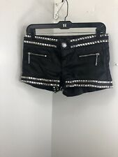 Guess Black Short Shorts With Silver Studs Size 26. (01)