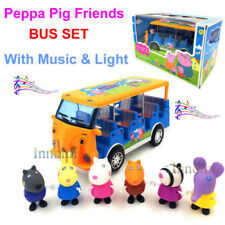 Peppa Pig School Bus 6 Friends Figures Playset Toy Set with Light and Music