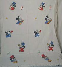 Vintage Disney Mickey Minnie Mouse Satin Trim Flannel Recieving Blanket Music