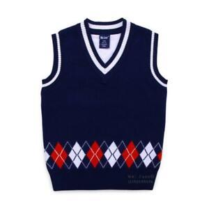 Winter Fashion Kids Boys Knitted Child Sweater Vest V Neck Sleeveless Pullover