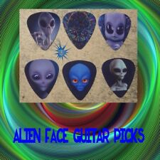 Alien face  SINGLE SIDED PICTURE GUITAR PICKS  Set of 6