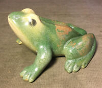 Antique Vintage Clay Pottery Green Frog Garden Figure Ornament
