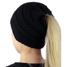 Women's Stretch Knit Hat Messy Bun Ponytail Beanie Winter Warm Hole Hat 8 Colors