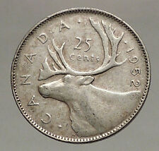 1952 CANADA King George VI of Britain Domains Silver 25 Cent Coin CARIBOU i57124