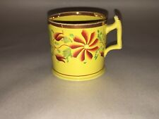 Staffordshire Canary Children's Cup Child's Luster Enamel Floral Ca. 1820's