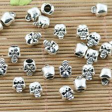 40pcs tibetan silver color skull head spacer bead EF2432