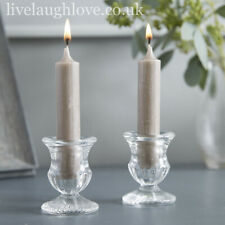 Clear Glass Urn Dinner Candle Holders - Set Of 2