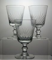 LEAD CRYSTAL CUT GLASS WINE GLASSES SET OF 3