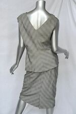GIANNI VERSACE COUTURE Womens Black&White Silk+Wool Sleeveless SKIRT Suit 10-46