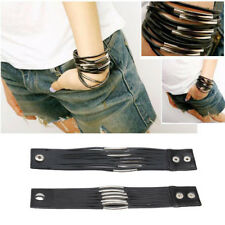 Handmade Surfer/Tribal/Punk/ 13 Multi Layer Stainless Steel & Leather Bracelet