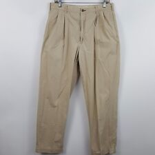 VTG Tommy Hilfiger Pleated Cuffed Brown/Tan/Nude Men's Chino's Pants Size 34x32