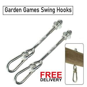 Garden Games Swing Hooks Heavy Duty M12 Swing Hanger Bolts with Carabiner Clips