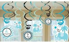 It's a Boy Baby Shower Decorations - Blue Swirls - Jungle Theme for Boy Baby