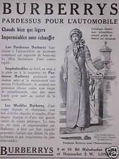 PUBLICITÉ BURBERRYS PARDESSUS POUR L'AUTOMOBILE CHAUDS BIEN QUE LÉGERS
