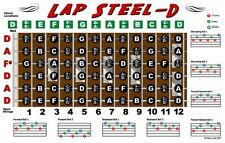 Lap Steel Guitar Fretboard Wall Chart Poster D Tuning Notes Rolls 11x17